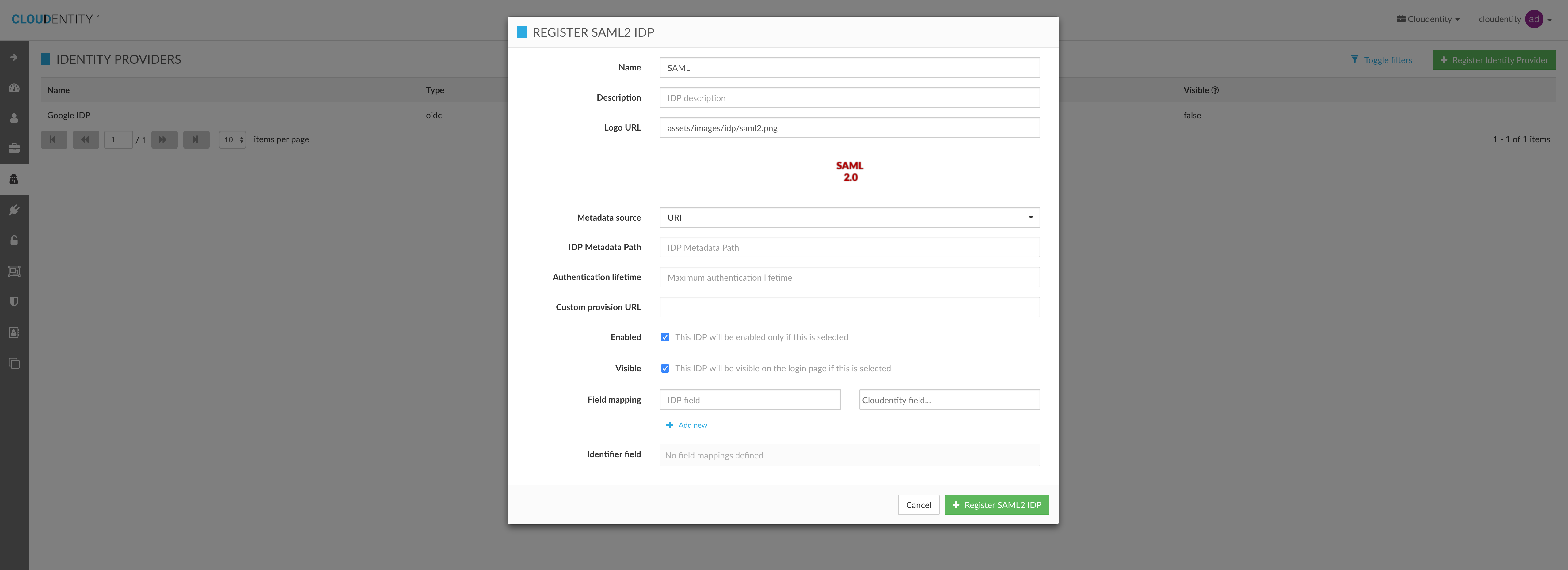 Register External IDP Configuration for Organization
