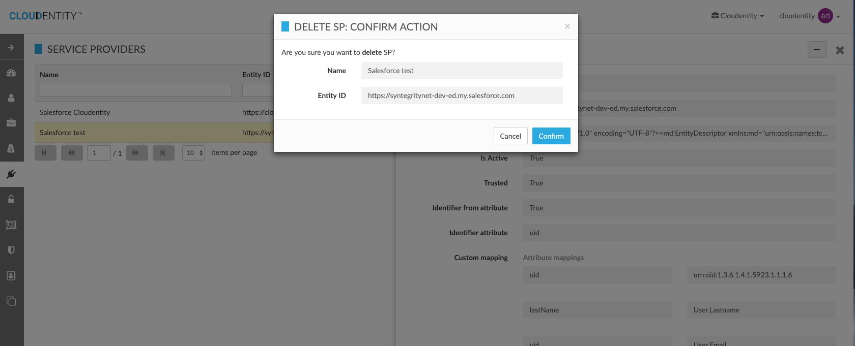 Delete External IDP Configuration for Organization